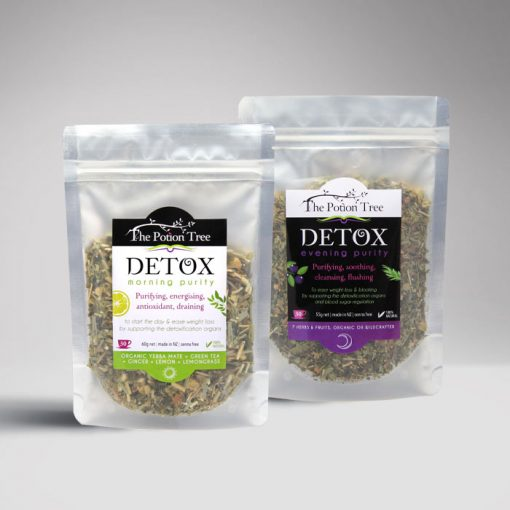 Detox tea potion tree nz botanical tea weight blood sugar organic australia plants nettle green tea rosehip skin purity blueberry yerba mate morning evening program senna free